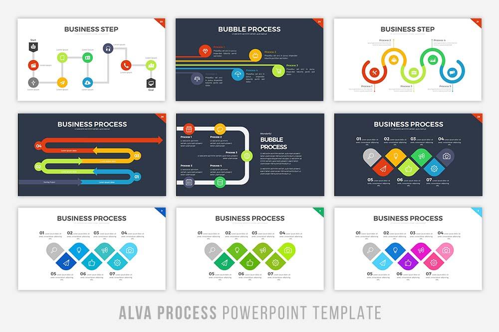 Alva Process Powerpoint Template by Bra Design Bundles