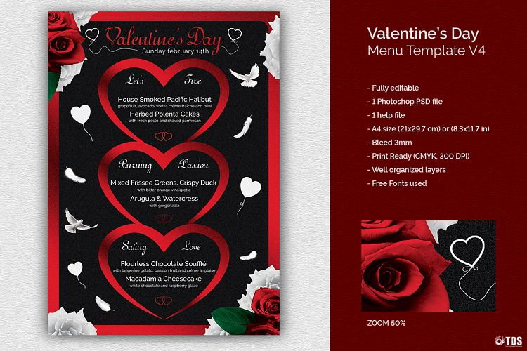 Valentines Day Menu Template V4 by TDSt Design Bundles - valentines day menu template