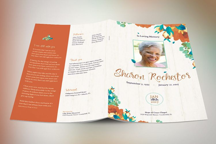 Autumn Floral Funeral Program Template Design Bundles