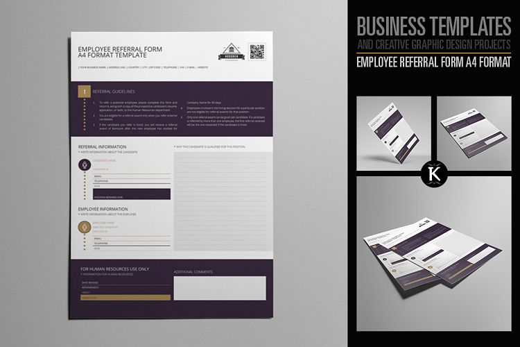 Employee Referral Form A4 Format by Keb Design Bundles - employee referral form