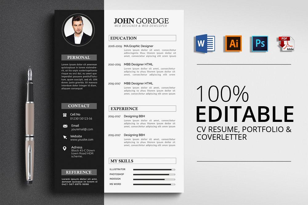 Cv Resume Corporate Design Templates by Design Bundles - Designing A Resume