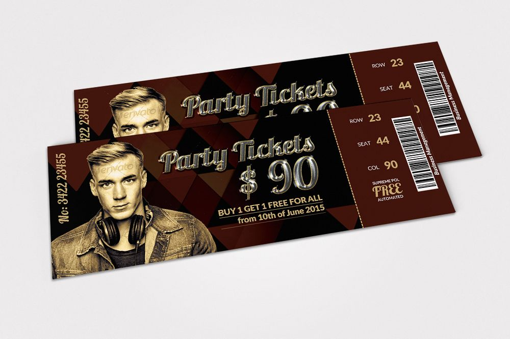 Musical Band Concert Tickets by Designh Design Bundles - concert tickets design