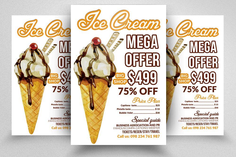 Ice Cream Sweet Discount Flyer Templat Design Bundles