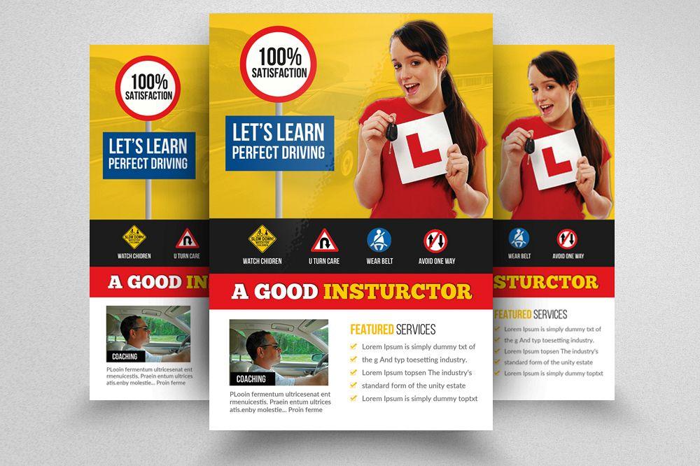 Driving School Flyer Template by Desi Design Bundles