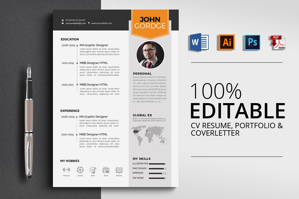 Resume Cv Word Template by Designhub719 Design Bundles