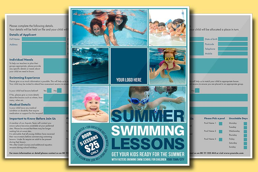 Swimming Lessons Flyer Template by DESI Design Bundles