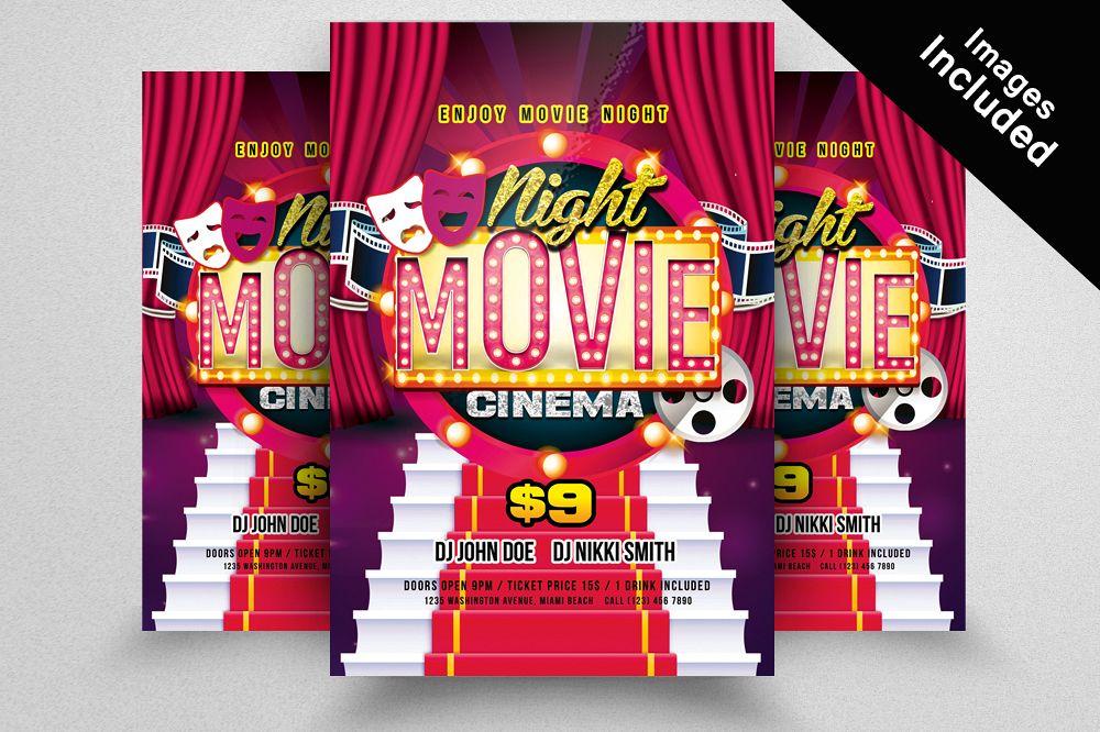 Movie Night Flyer Template by Designhub Design Bundles
