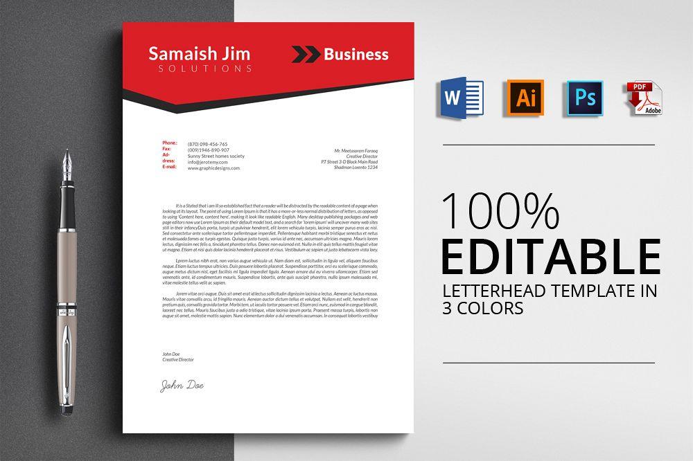 3 Layout Letterhead Word Template by De Design Bundles