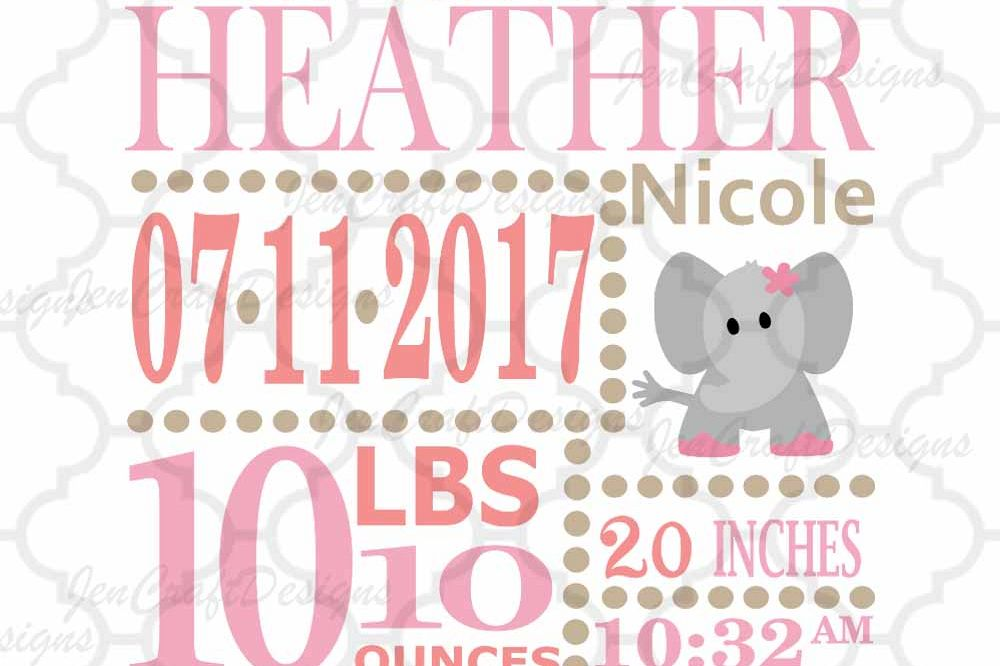 Girl Baby Birth Announcement template w Design Bundles