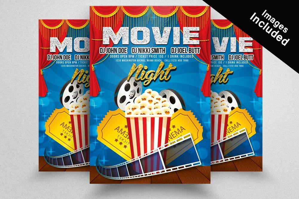 Movie Night Flyer Templates by Designhu Design Bundles - movie night flyer template