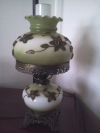 L&L Lamp. Green And White With Brass Flowers. Whats The ...