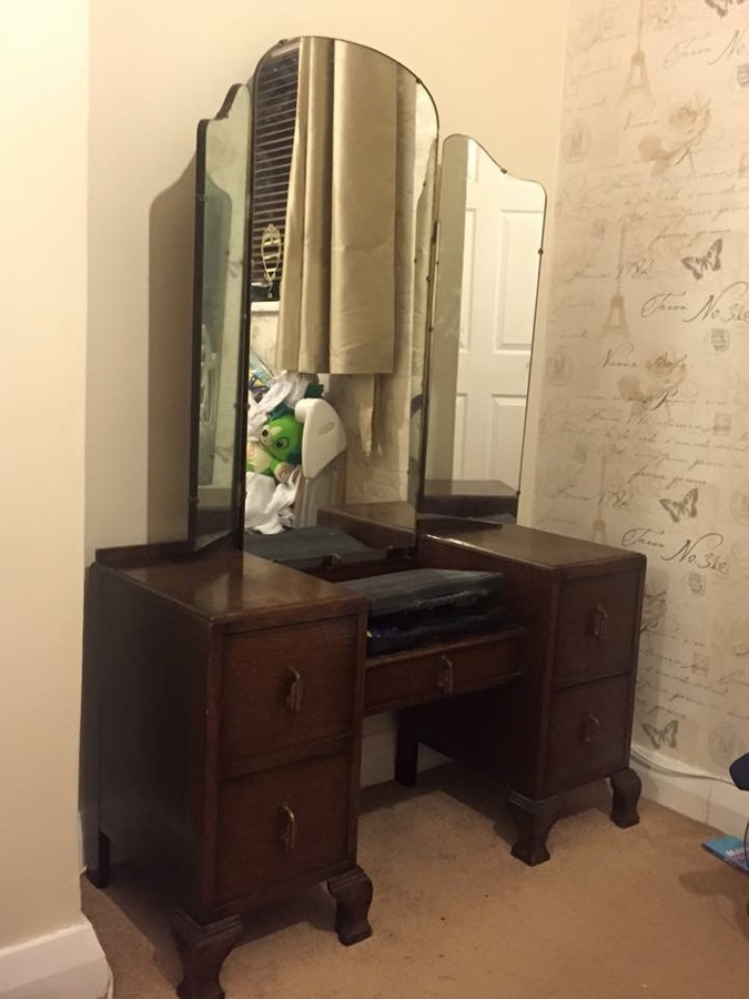 Large Dresser Triple Mirror Dressing Table | My Antique Furniture Collection