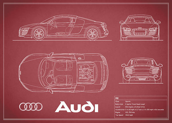 Audi R8 Blueprint - Red by Mark Rogan - best of blueprint drawings of audi r8