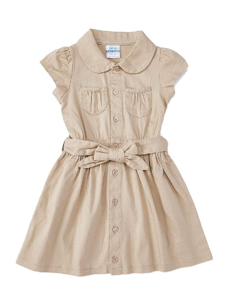 Piece Unik Unik Big Girls Khaki Button Short Sleeve Sash Uniform Dress 4 6