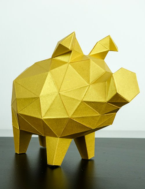 Sparschwein Papiertier Low Poly Papertrophy - Papertrophy