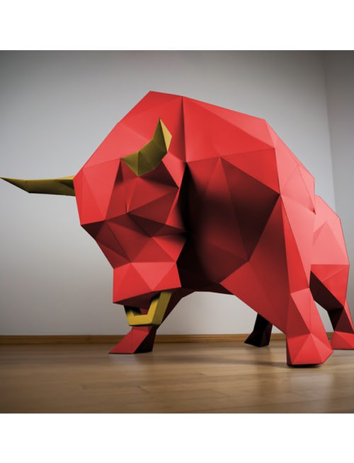 Bull Paper Animal Low Poly Papertrophy - Papertrophy