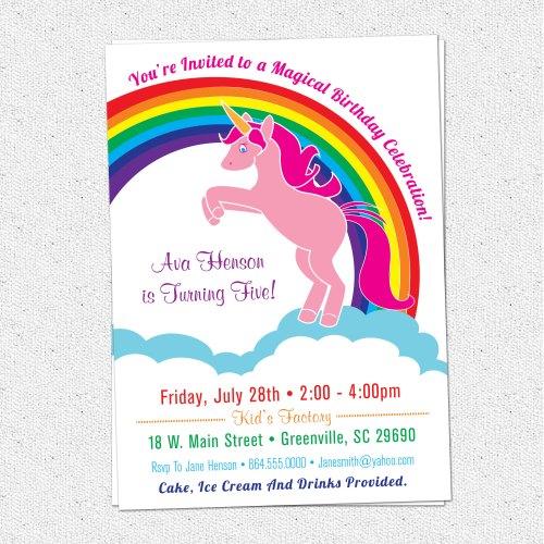Medium Crop Of Unicorn Birthday Invitations