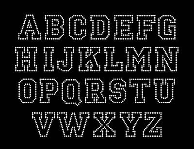 Caps Block FULL Alphabet Letters Sheet Rhinestone Transfer Iron On