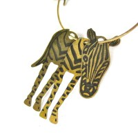 3D Zebra Animal Hoop Dangle Earrings in Bronze  DOTOLY ...