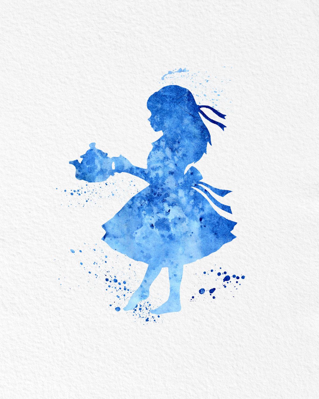 Textured Iphone Wallpaper Watercolor Art Alice In Wonderland Gift Modern 8x10 Wall