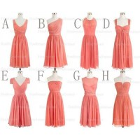 Coral bridesmaid dresses, short bridesmaid dresses ...