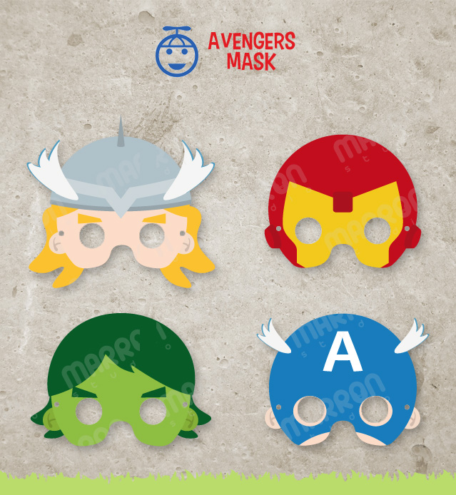 Superhero Inspired set Avengers Mask, Thor, Captain America, Iron