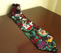 Mens Christmas Tie, Looney Tunes Cartoon Novelty Tie, Bugs