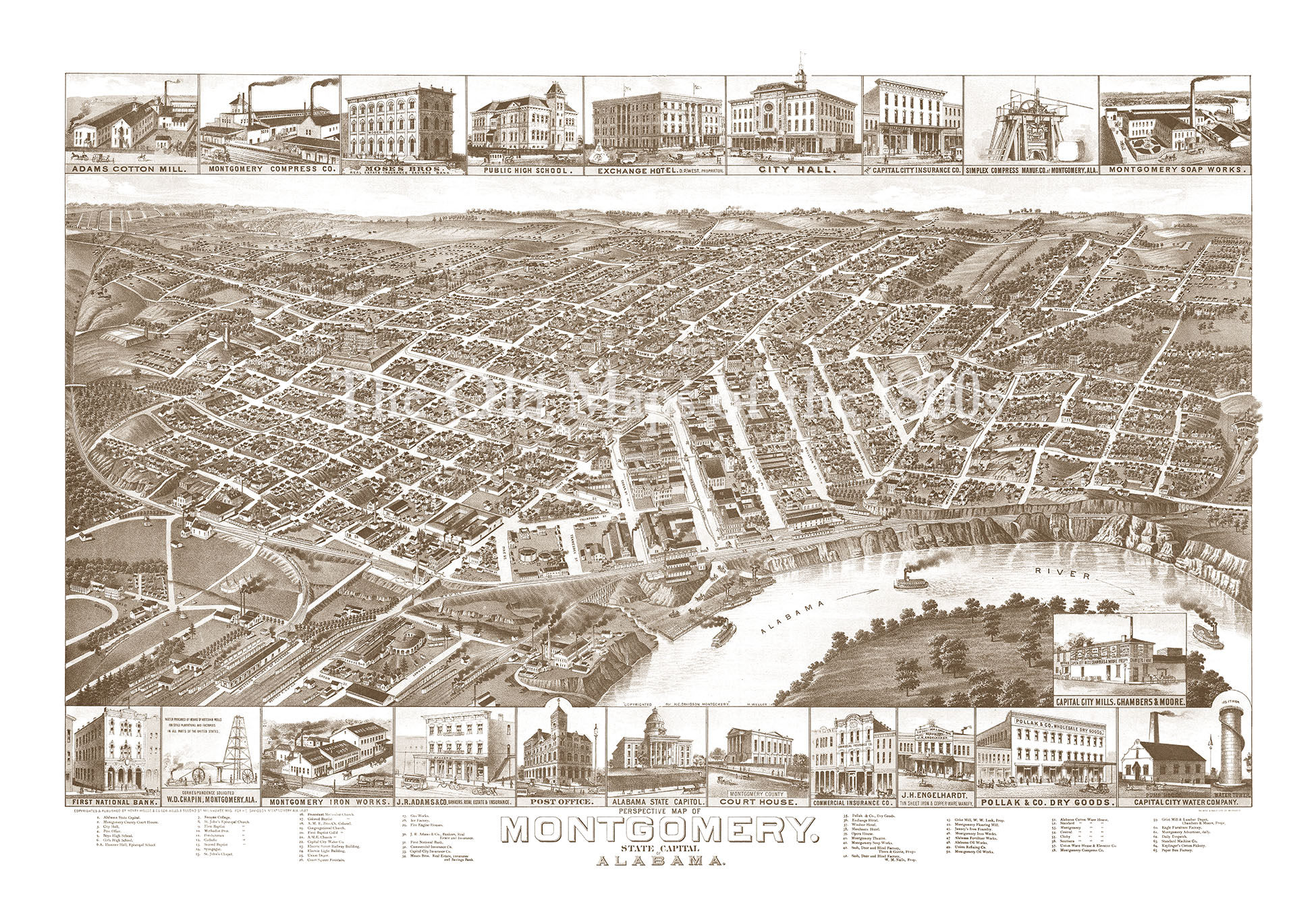 Montgomery Alabama In 1887 Bird39s Eye View Map Aerial