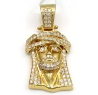 925 Sterling Silver Small Jesus Piece Lab Diamond Pendant ...
