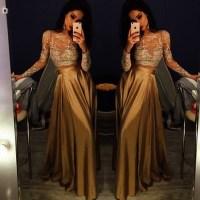 Solo Dress Long Sleeve Gold Prom Dresses,Long Evening