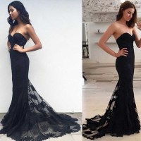 Black Mermaid prom dress, 2017 Lace prom dress, sexy prom ...