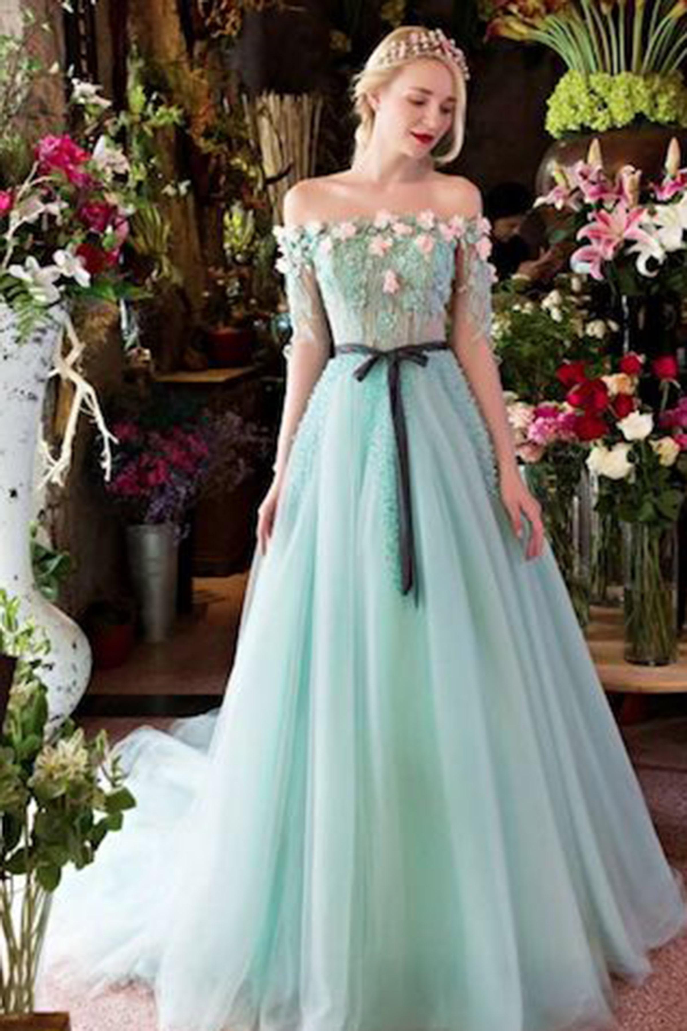 Gallant Mint Organza Short Sleeves Handmade Flower Long Prom Mint Organza Short Sleeves Handmade Flower Long Prom Long Prom Dresses Blue Long Prom Dresses Sleeves wedding dress Long Prom Dresses