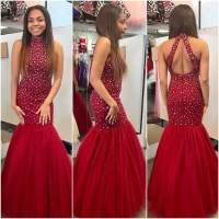 Red Tulle with Beaded Prom Dresses,Mermaid Prom Dresses ...