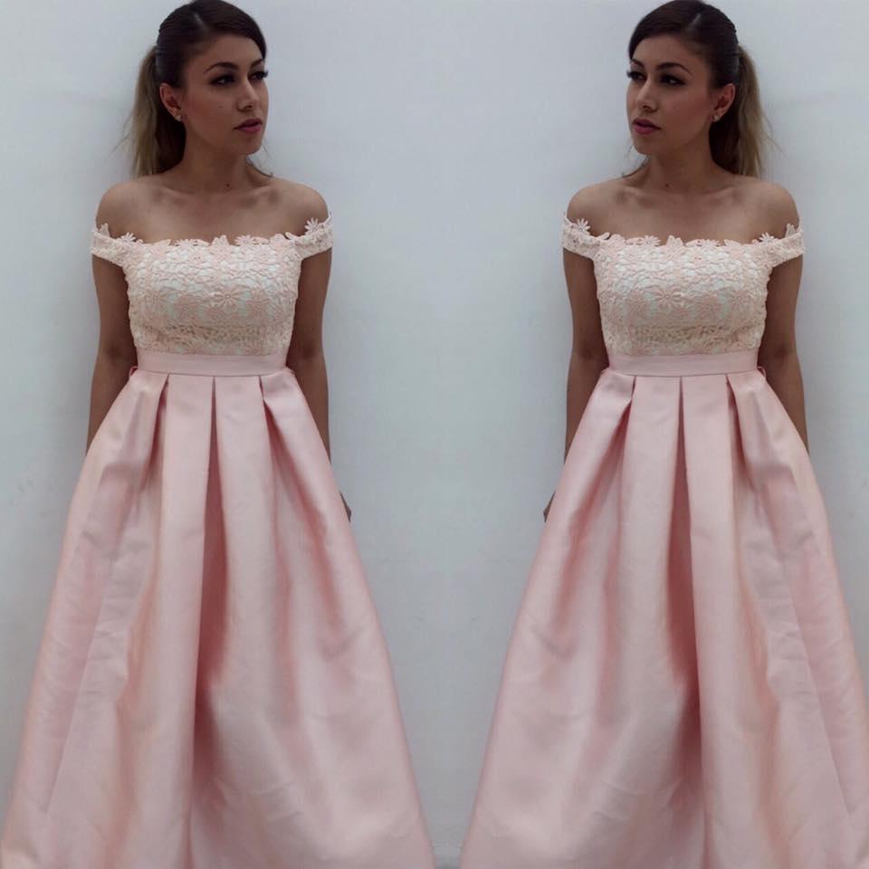 Off shoulder Pink Satin Prom Dresses,Simple Formal Dresses