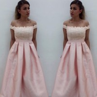 Off shoulder Pink Satin Prom Dresses,Simple Formal Dresses