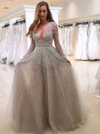 Sparkly Long Sleeves Grey Sequins Long Prom Dress ...