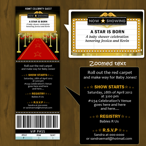Hollywood Baby Shower invitation Ticket Style - A Star is Born on