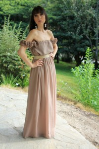 Long Off the shoulder Taupe Brown Bridesmaid Dress on Storenvy