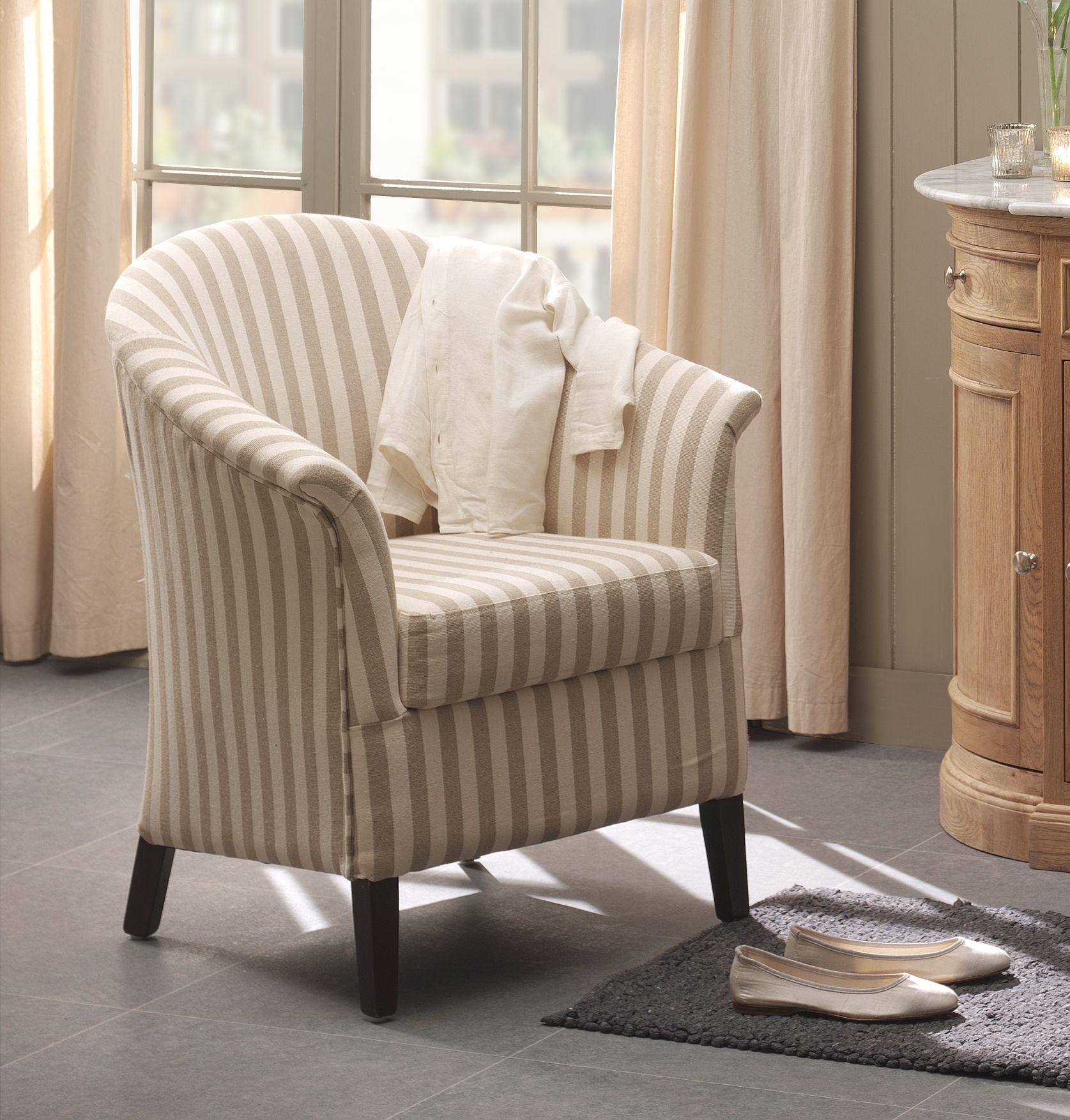Tissus Rayures Fauteuils Fauteuil Cabriolet Blanc Crème Rayures Mira