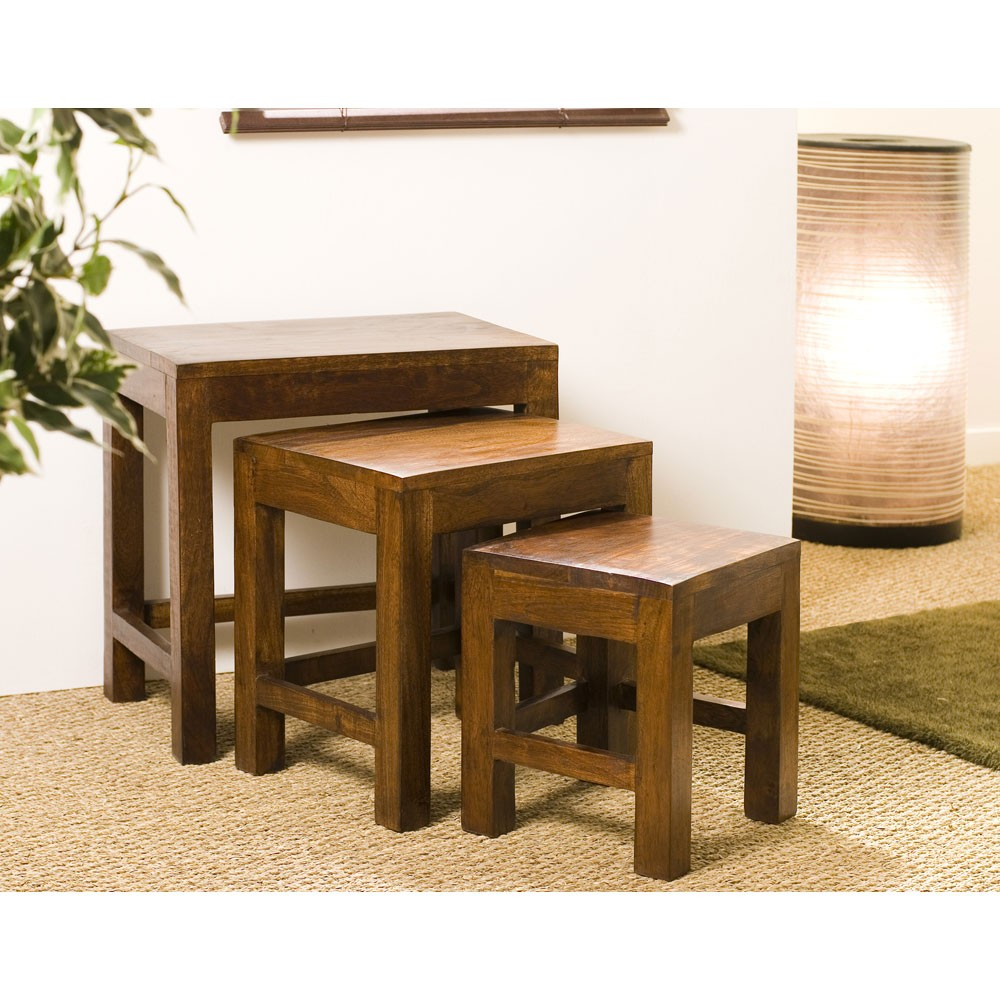 Table Gigogne En Bois Table Gigogne Bois D Acacia Mandy Lot De 3
