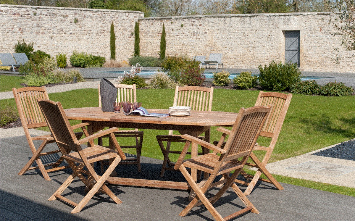 Salon De Jardin Bois Remmington 1 Table 190-230cm + 4 Chaises + 2 Fauteuils Awesome Table De Jardin Teck Ovale Ideas House Design
