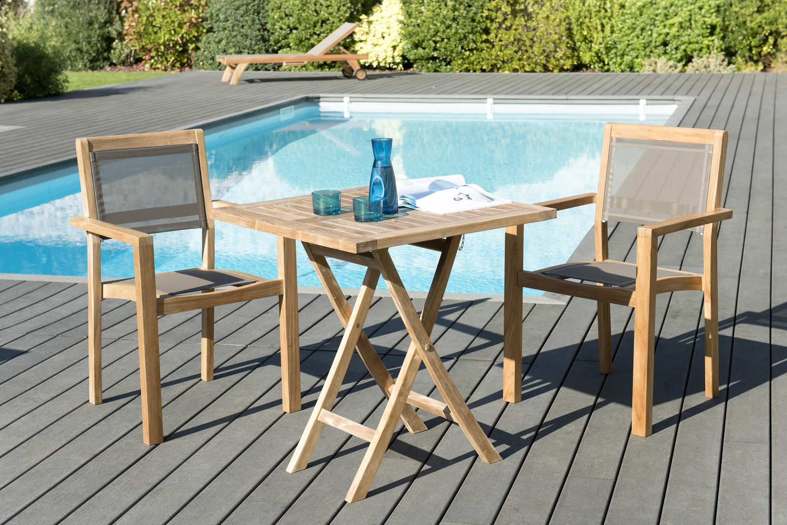 Salon Bas De Jardin En Teck Salon De Jardin Table Teck 70x70cm 2 Fauteuils Empilables Summer
