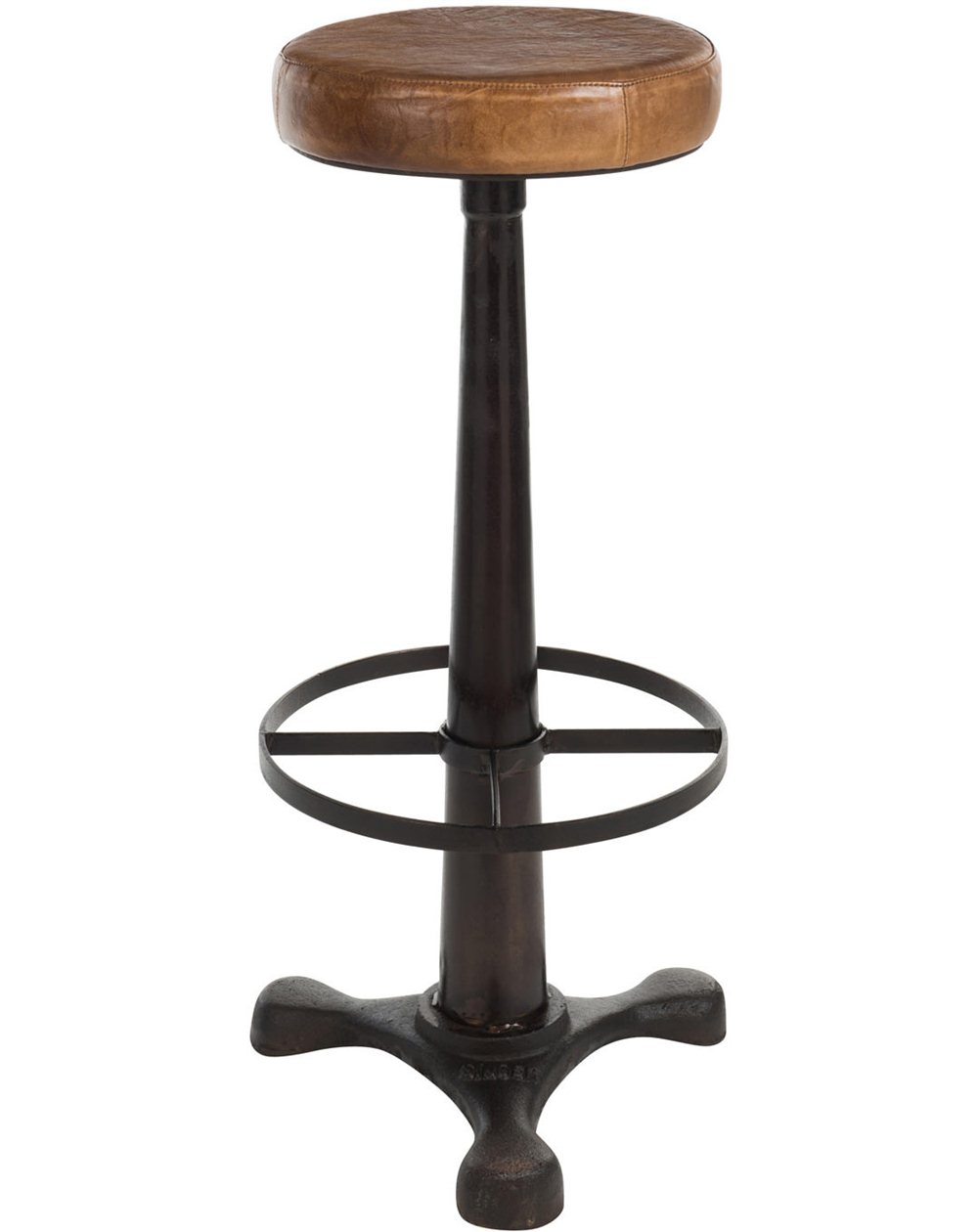 Chaise De Bar Marron Tabouret De Bar Cuir Marron Rétro Réf 30022045