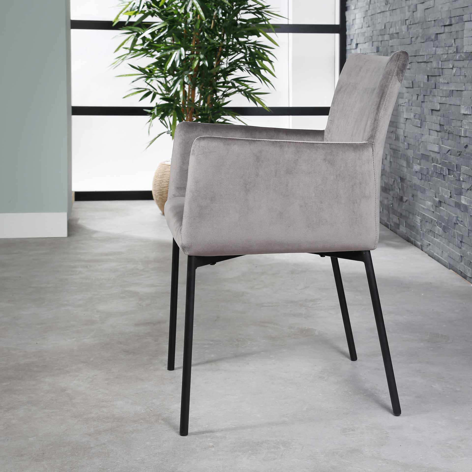 Fauteuil De Table En Velours Gris Java Chaises Pier Import