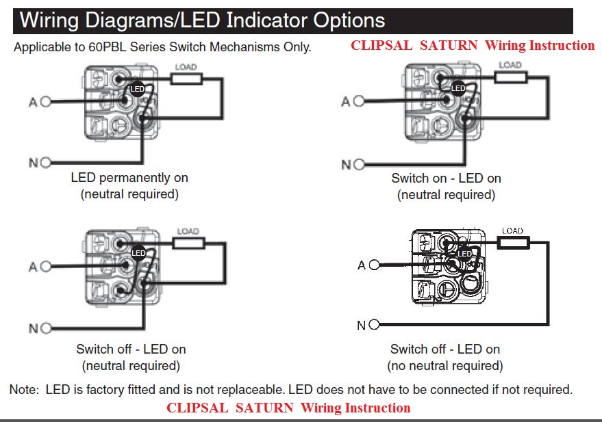 clipsal saturn led wiring diagram
