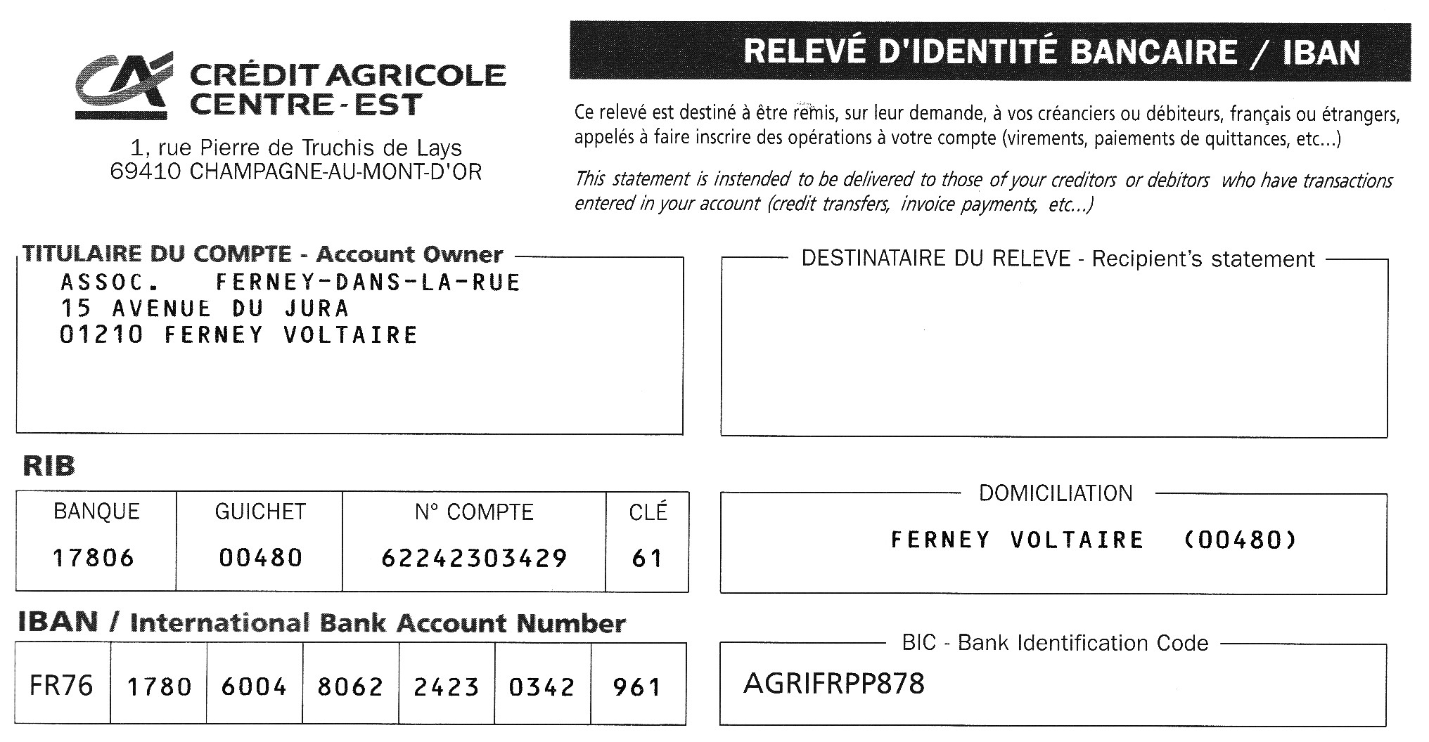 Rib Bank Is Cle Rib Part Of Bank Account Number For French Banks Help