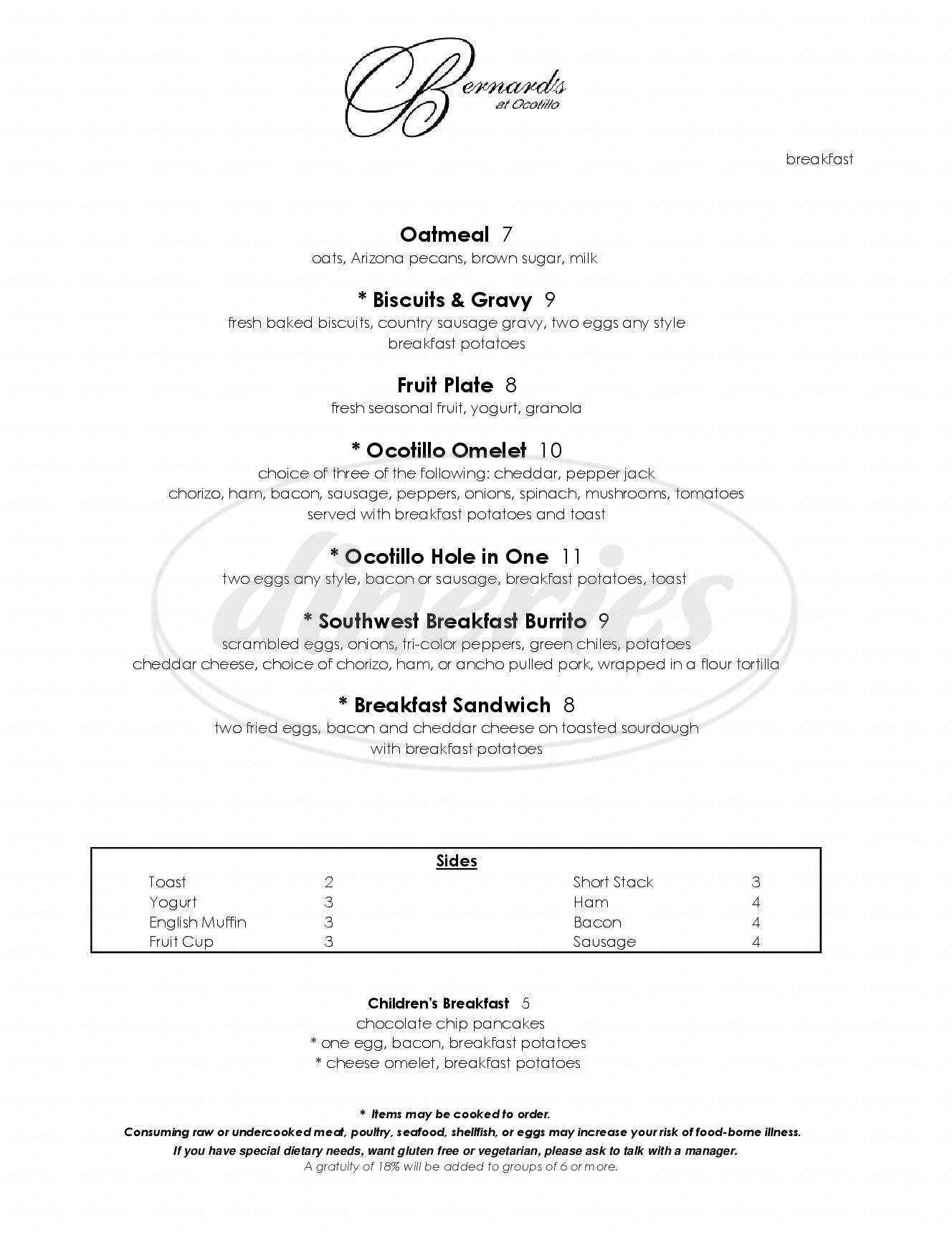 Dining Menu Ocotillo Golf Resort Bernard S Fine Dining Menu Chandler