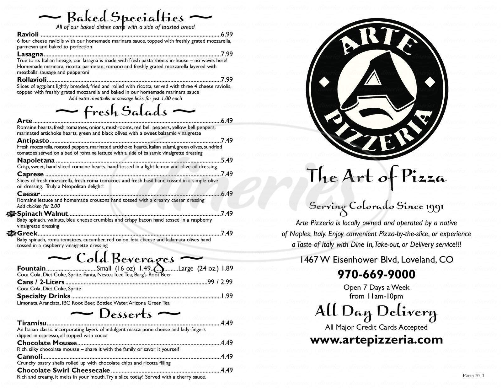 Pizza Arte Open Hours Arte Pizzeria Menu Loveland Dineries