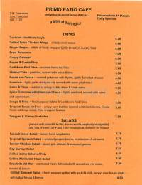 Primo Patio Caf Menu - San Francisco - Dineries