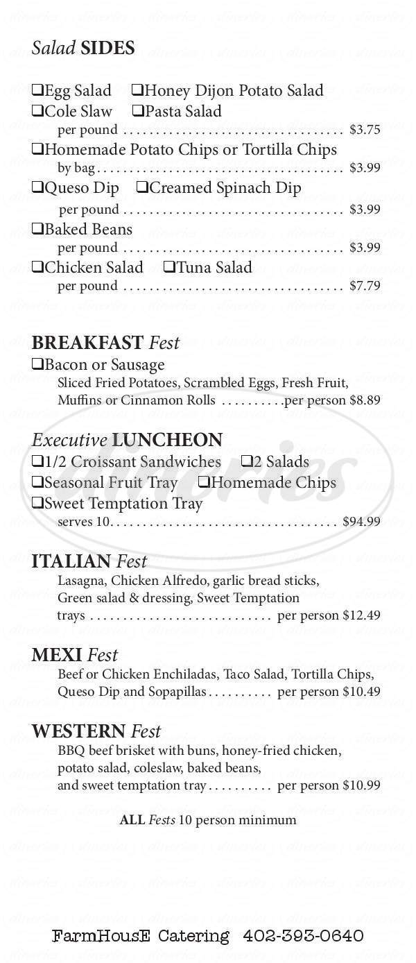 Farmhouse Cafe Menu Omaha Dineries